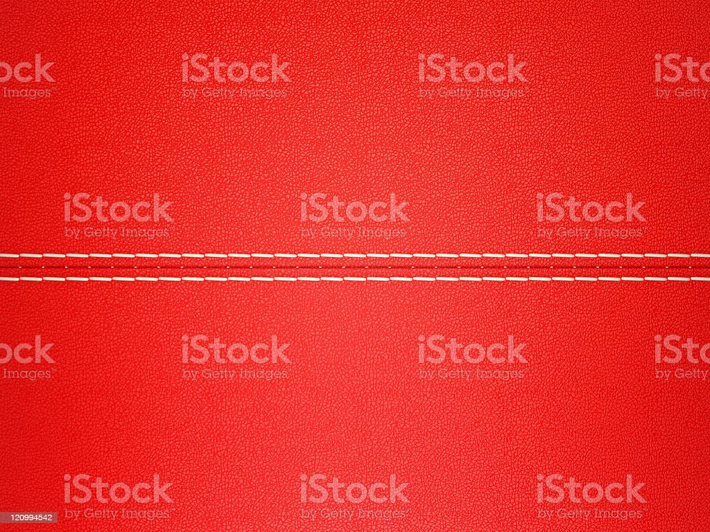Red stitched leather background. Large resolution stock photo
