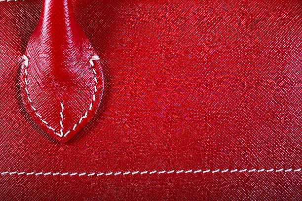 Red Stitched Leather stock photo
