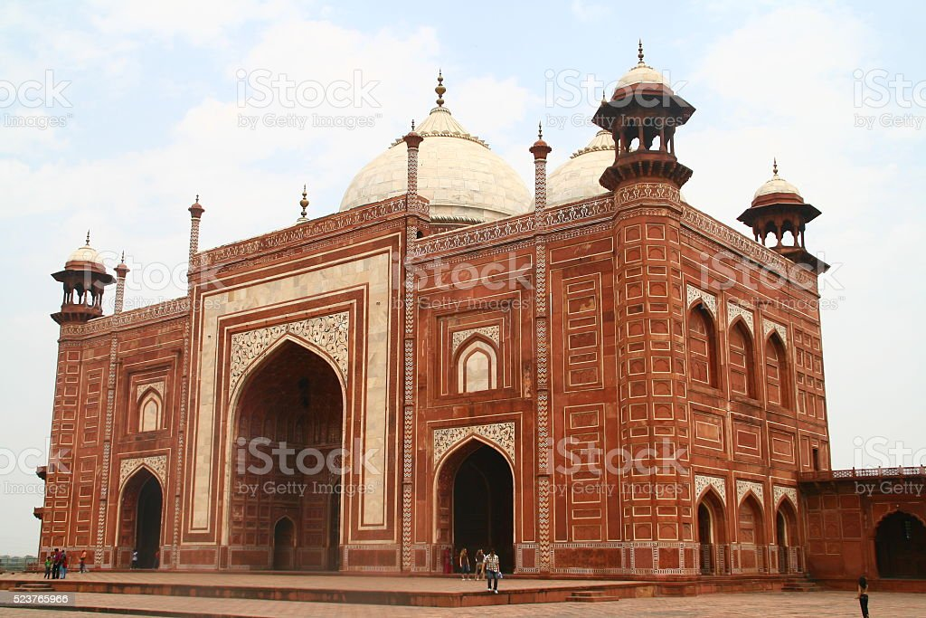 Red Stone Mosque at Taj Mahal stock photo