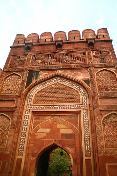Red Stone Mosque at Taj Mahal stock photo