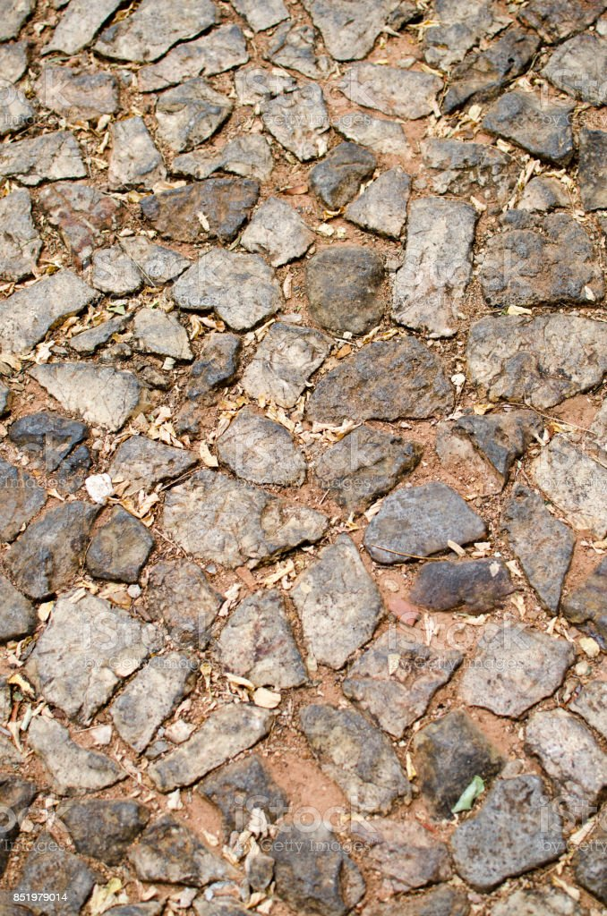 Red Stone Wall Closeup stock photo