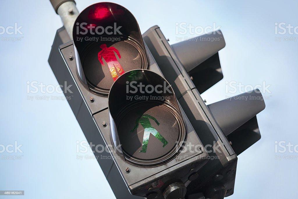 Red stop signal of urban street pedestrian traffic light stock photo