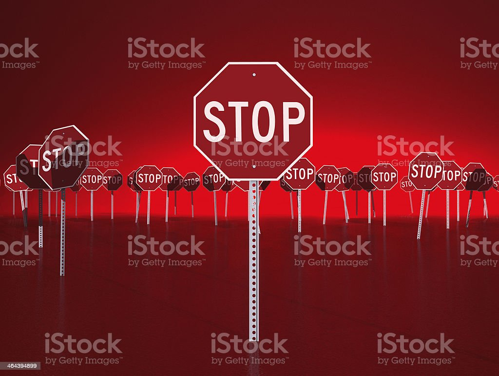 Red Stop Signs royalty-free stock photo