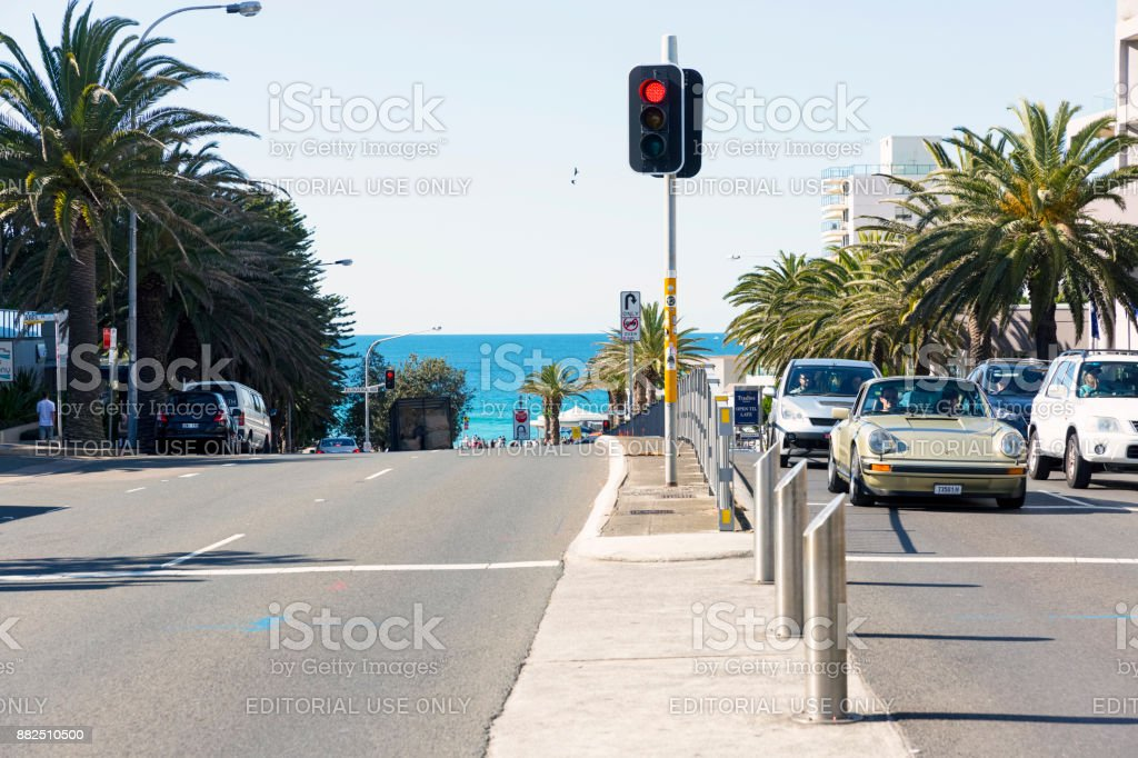 Red stop traffic light in city, Cronulla, Australia, copy space stock photo