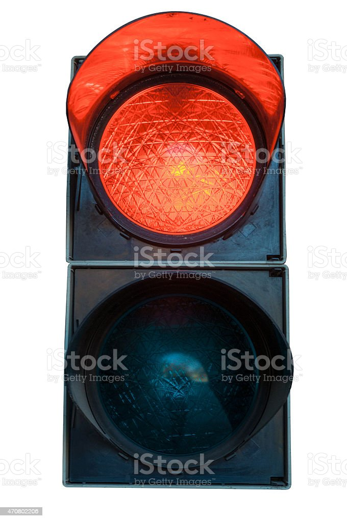 red stoplight isolated on white - traffic light stock photo