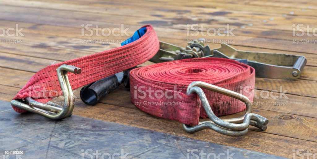 Red Strap and Ratchet stock photo