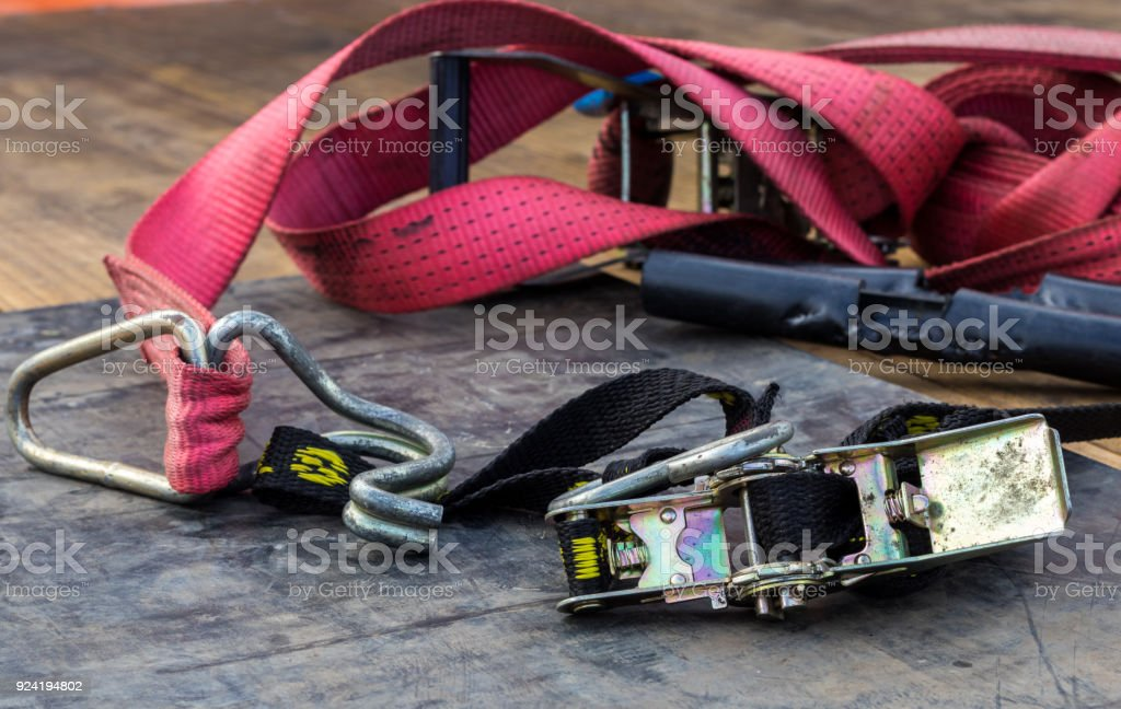 Red Strap Ratchet stock photo