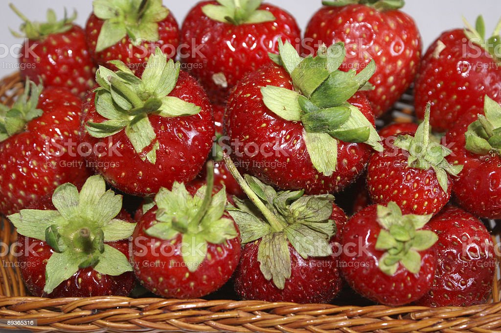 Red strawberries in a basket royalty-free stock photo