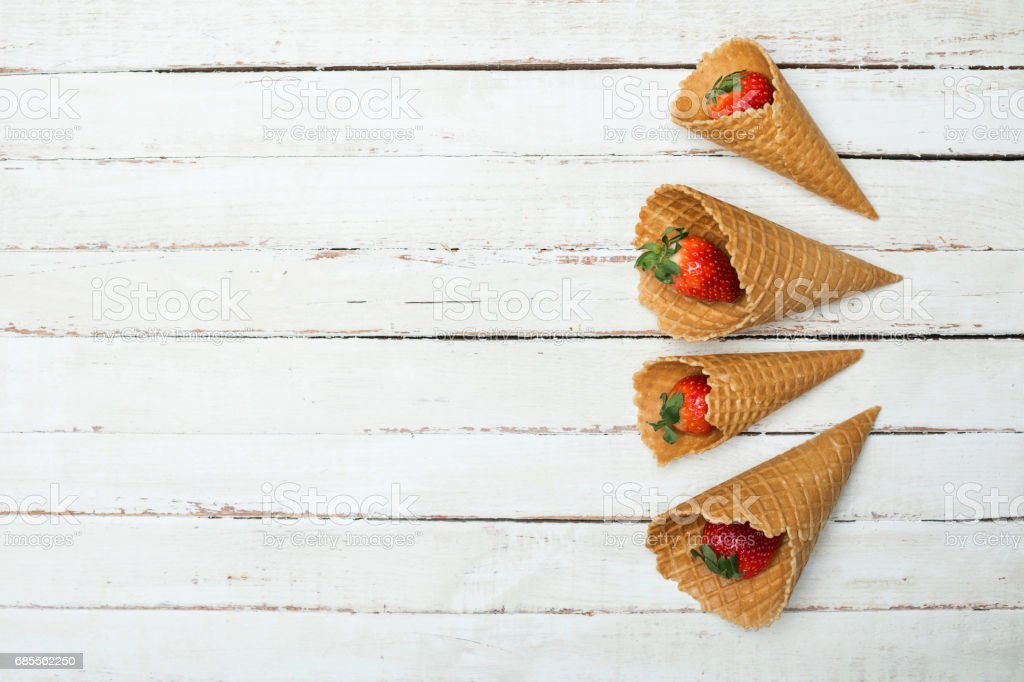 red strawberries in waffle cones royalty-free 스톡 사진
