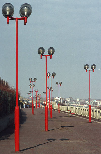 Red Street Lamps stock photo