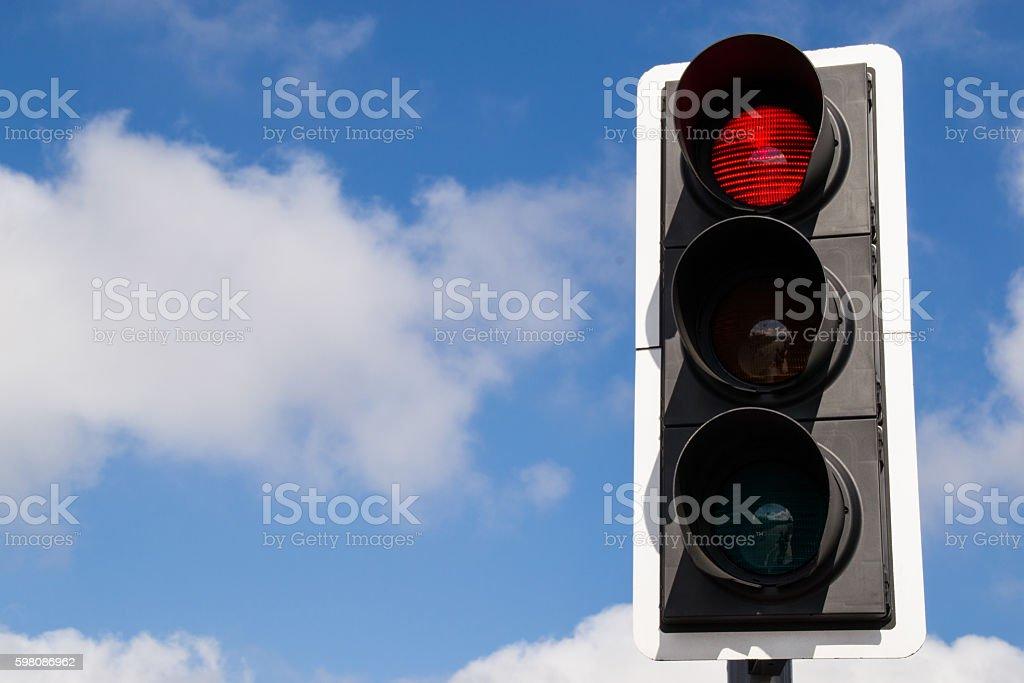 Red street signal. stock photo