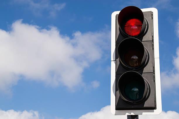 Red street signal. ストックフォト