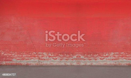 Red street wall, shot full frame, external photo
