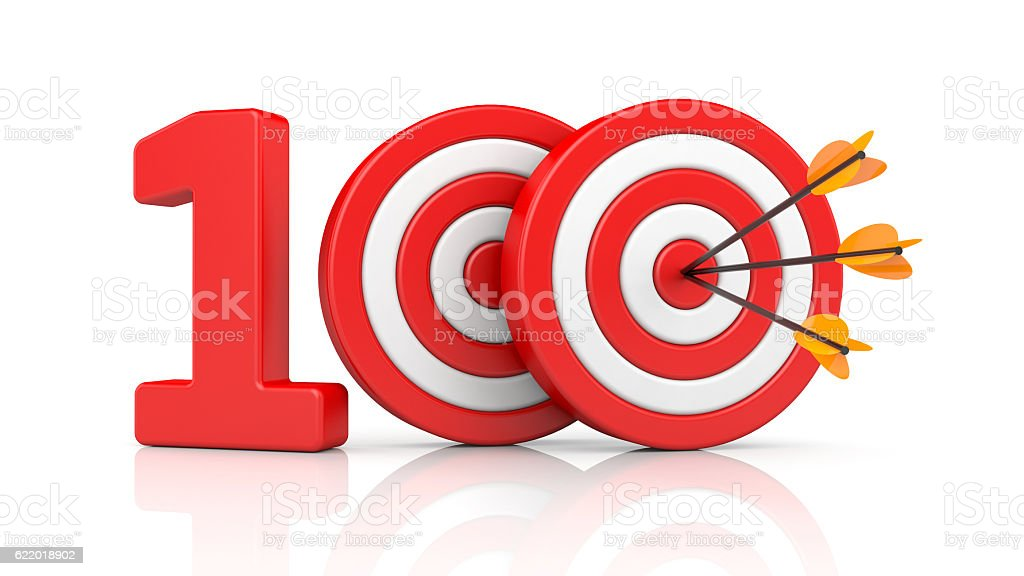 Red stripe targets with arrow form the red number 100 stock photo