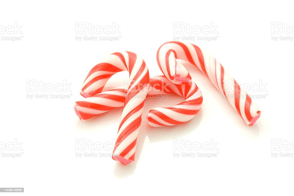Red striped candy canes. royalty-free stock photo