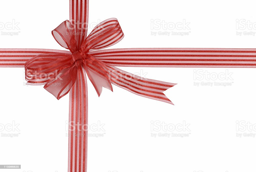 Red striped gift ribbon and bow (clipping path) stock photo
