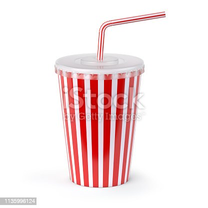 istock Red striped paper or plastic glass with  soda water, drinking straw, tea or coffee. 1135996124