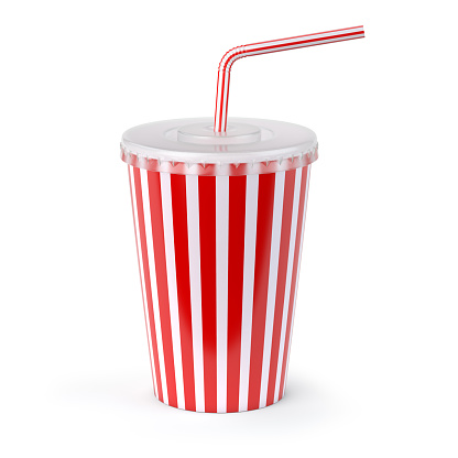 Red striped paper or plastic glass with  soda water, drinking straw, tea or coffee.