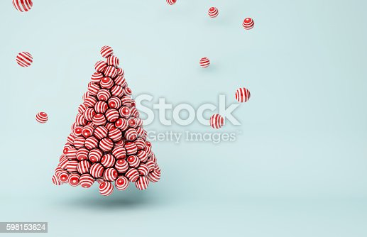istock Red stripes balls Christmas tree 598153624