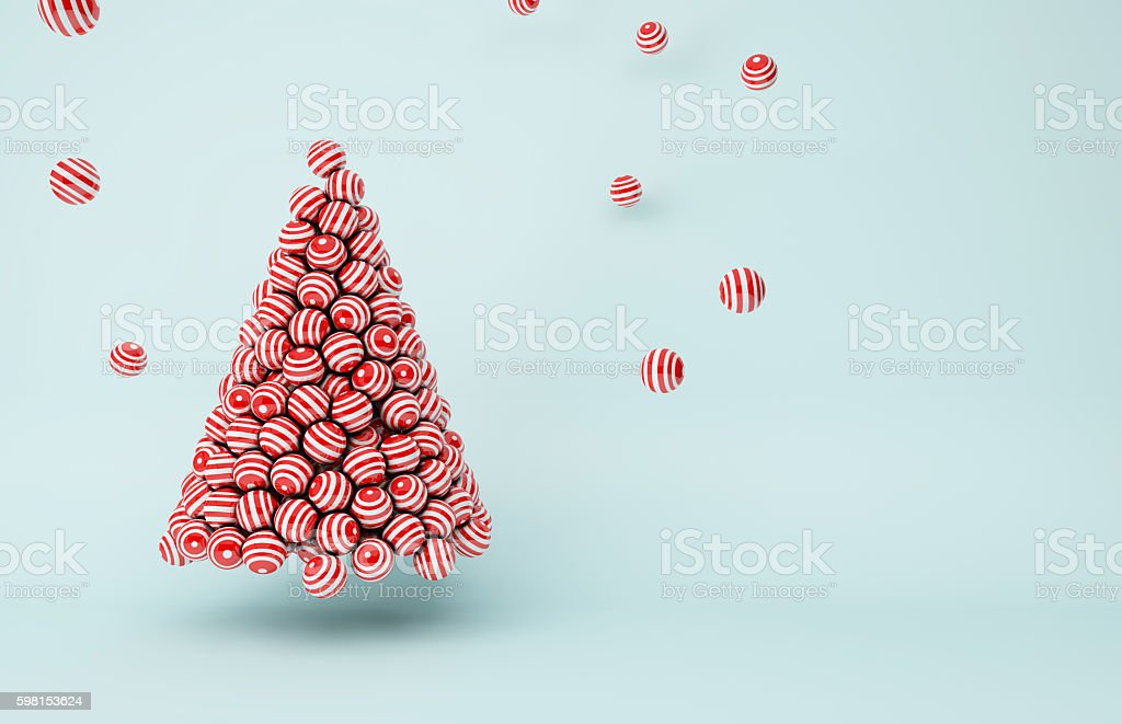 Red stripes balls Christmas tree stock photo
