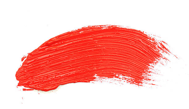 red stroke of the paint brush isolated on white stock photo