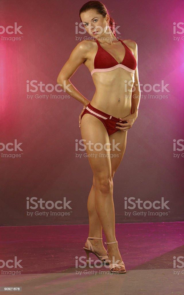 Red Suede Bikini Portraits royalty-free stock photo