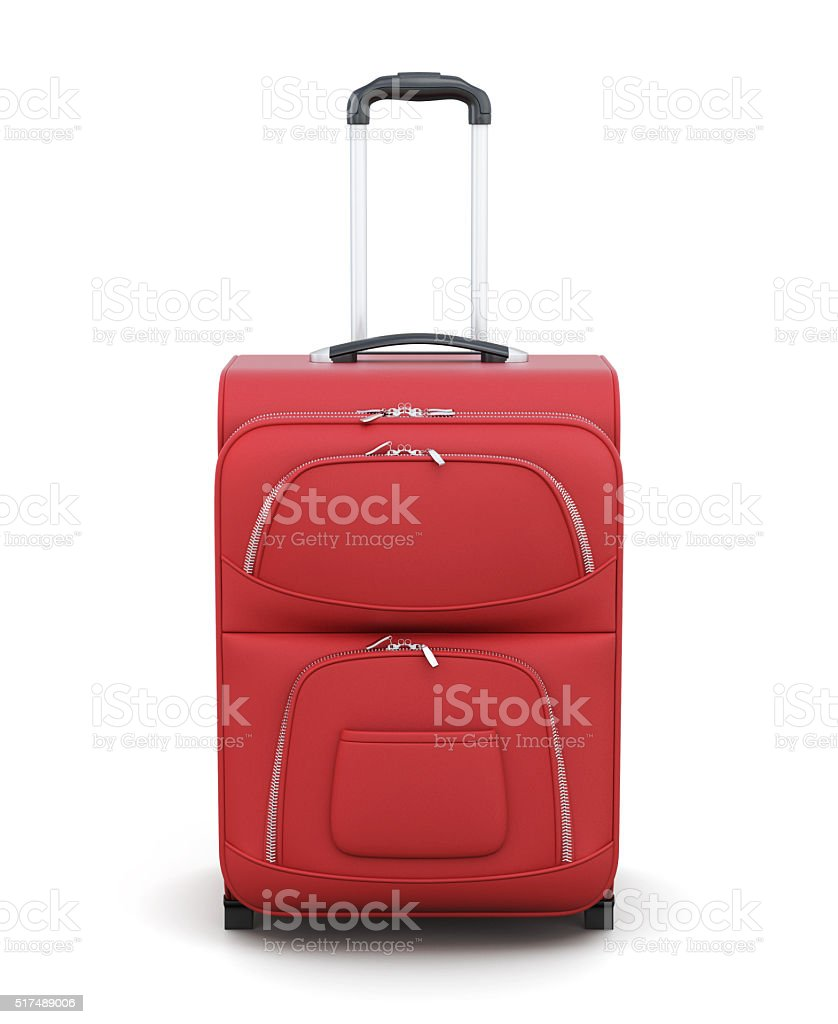 Red suitcase on wheels isolated on white background. 3d renderin stock photo