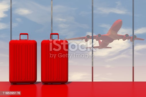 3d rendering of red suitcases in airport with red color airplane in sky. Minimal Christmas travel  concept.