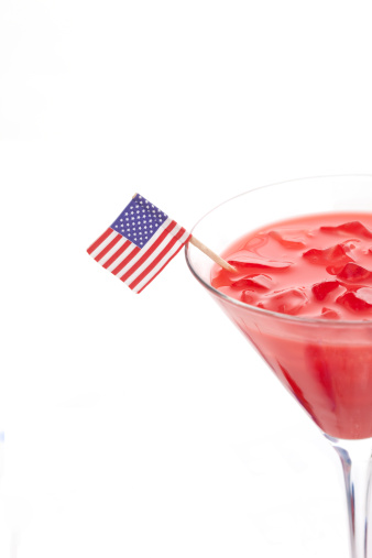 Refreshing Summer Drink with an American Flag