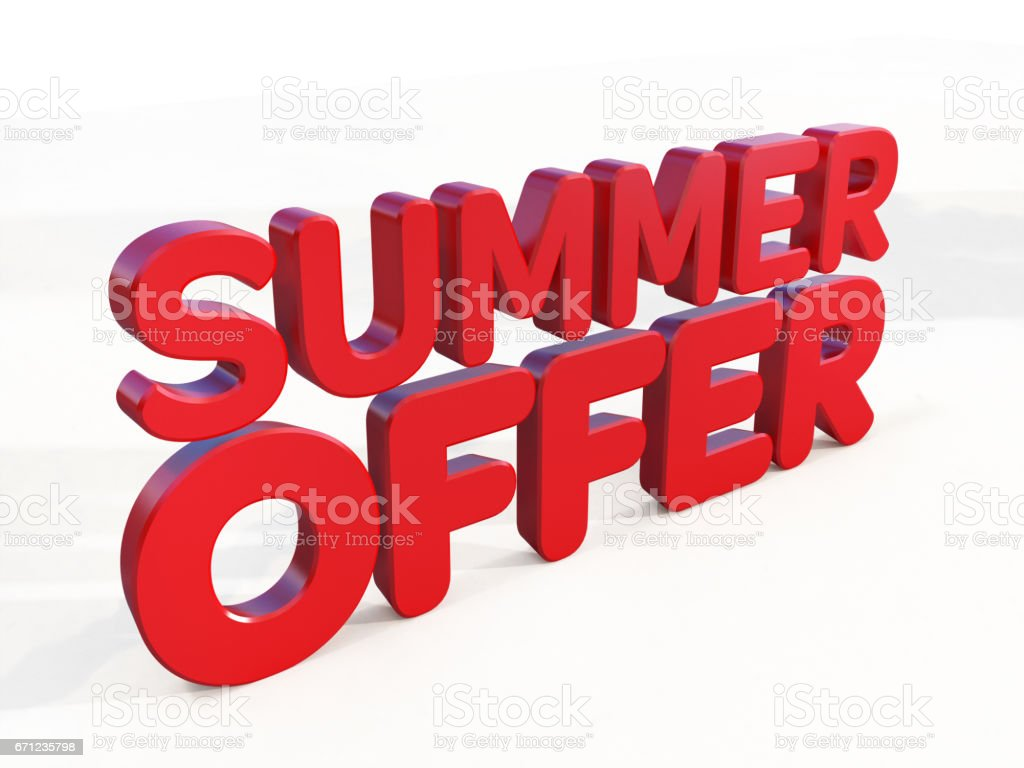 3D red summer offer word on white background stock photo