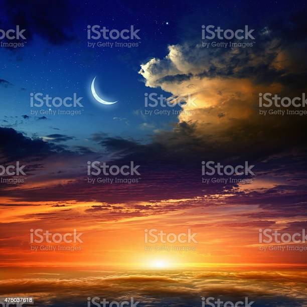 Photo of Red sunset and moon
