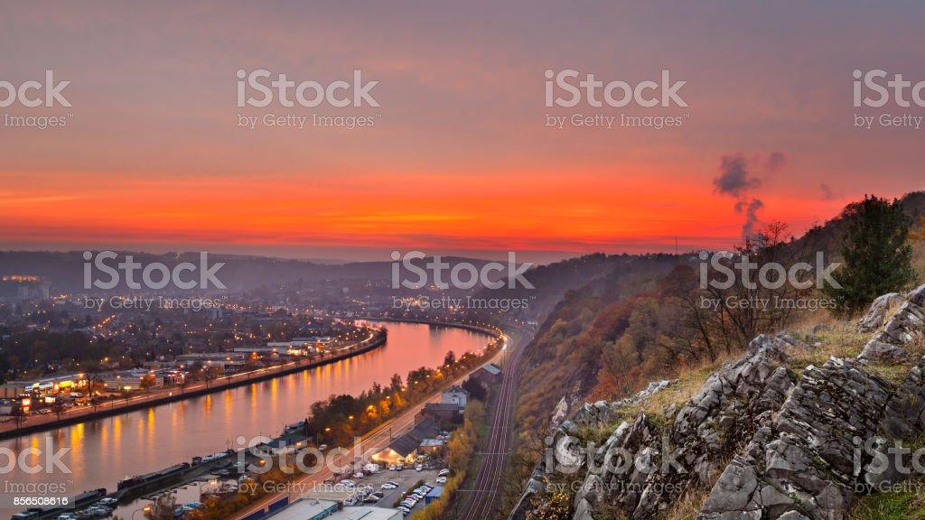 Red Sunset at Meuse River stock photo