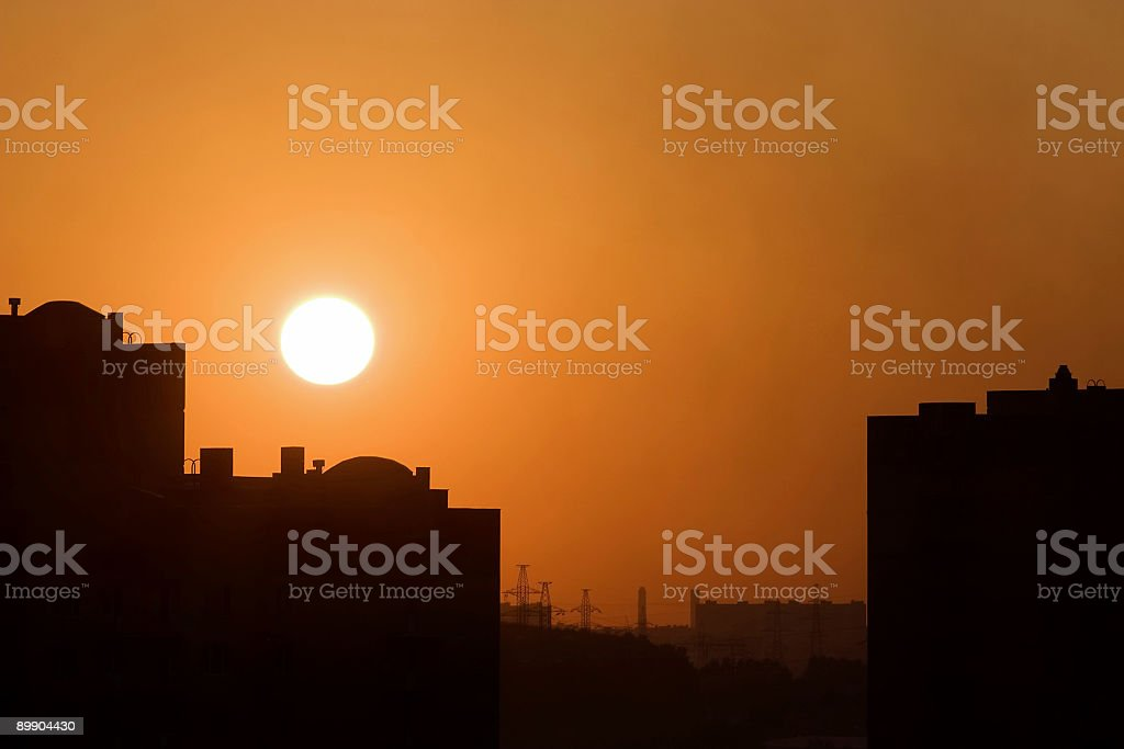 Red sunset in a city royalty-free stock photo