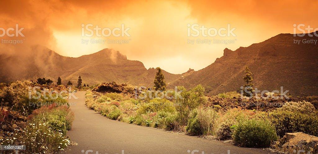 Red sunset landscape - Teide National Park stock photo