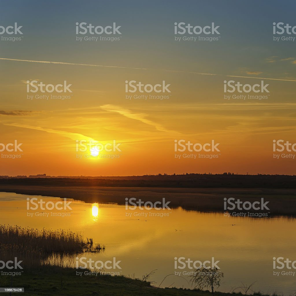 red sunset over river royalty-free stock photo