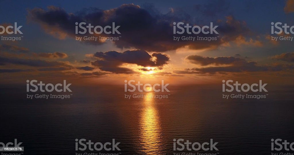 red sunset over the Mediterranean sea. flight. royalty-free stock photo