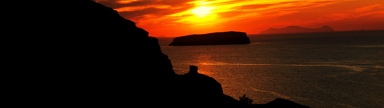 dramatic sunset sky at Santorini - Greece landscape