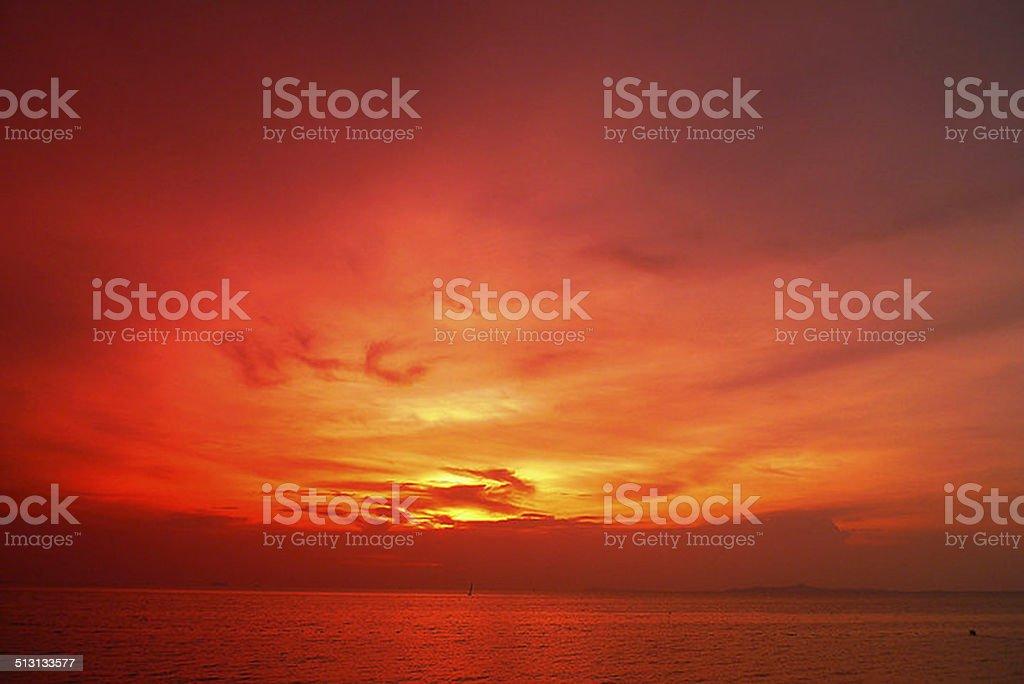 Red sunset stock photo