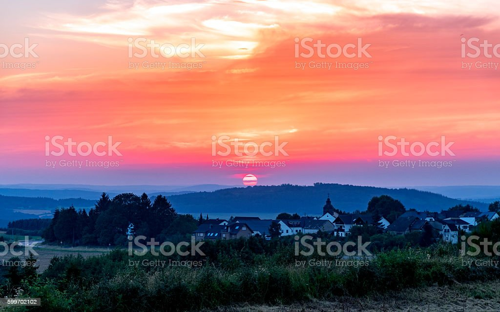 Red Sunset Sunset in Nurburg, Germany Cloud - Sky Stock Photo