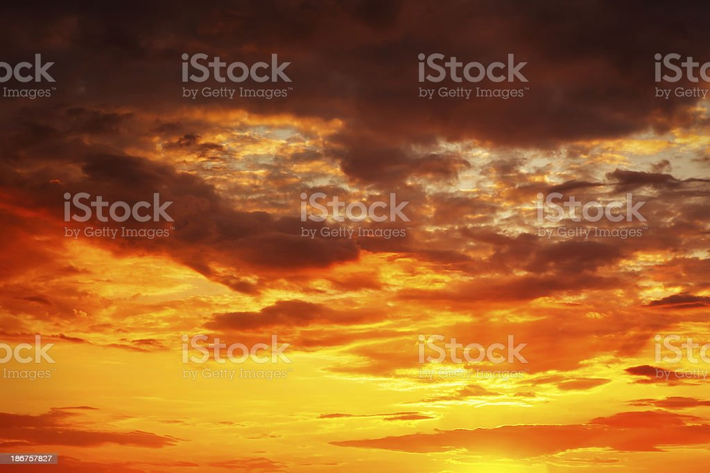 Red sunset sky royalty-free stock photo