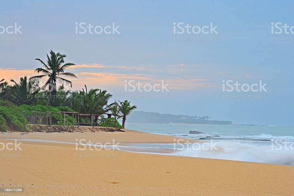 Red sunset tropical seascape royalty-free stock photo