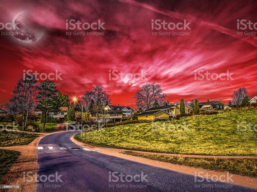 Red Sunset with the Moon over the Street royalty-free stock photo