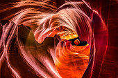 Composite with Red full moon eclipse outside Upper Antelope Canyon