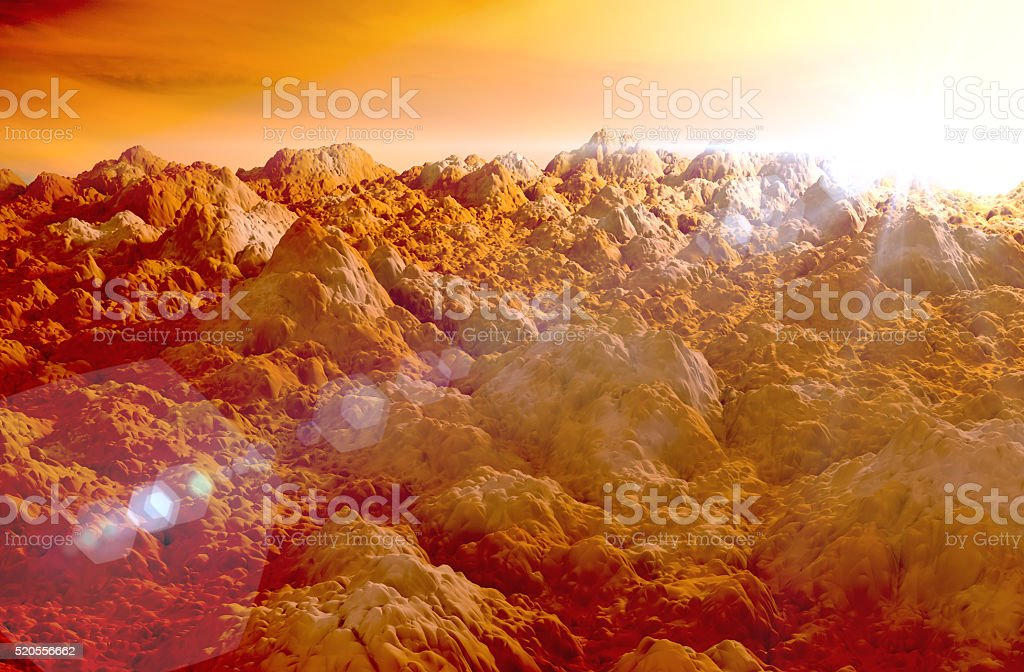 Red surface of Mars planet stock photo