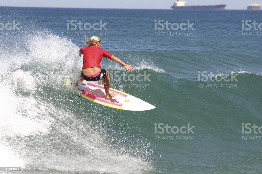 Red Surfer Girl stock photo