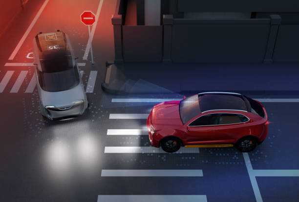 Red SUV avoid a accident from a minivan at crossroad Red SUV avoid a accident from a minivan at crossroad. Advance driver-assistant system concept. 3D rendering image. avoidance stock pictures, royalty-free photos & images