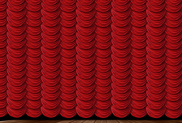 Red Swag Drapes stock photo