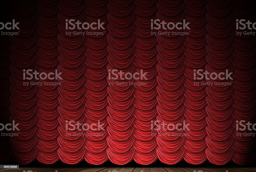 Red Swag Drapes With Spotlight royalty-free stock photo