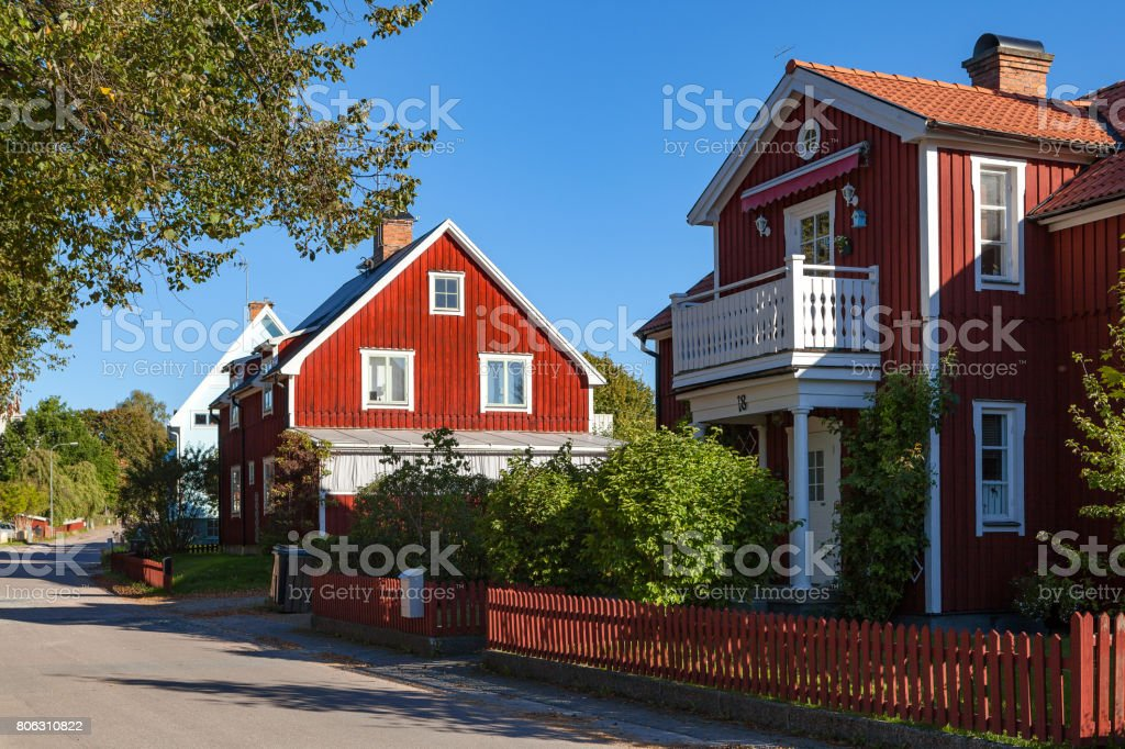 Red Swedish typical house in small town Hedemora stock photo