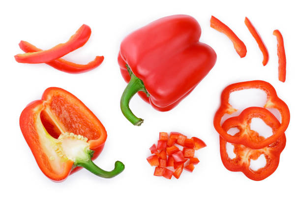 red sweet bell pepper isolated on white background. top view. flat lay - red bell pepper isolated imagens e fotografias de stock